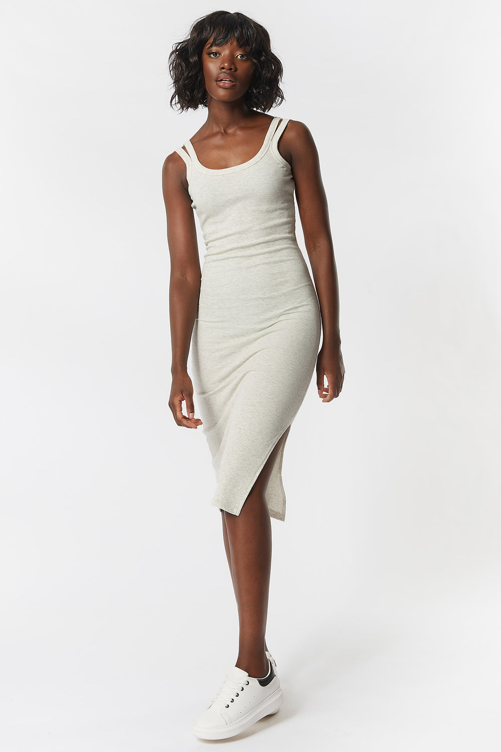 Double Strap Scoop Neck Midi Dress Oatmeal