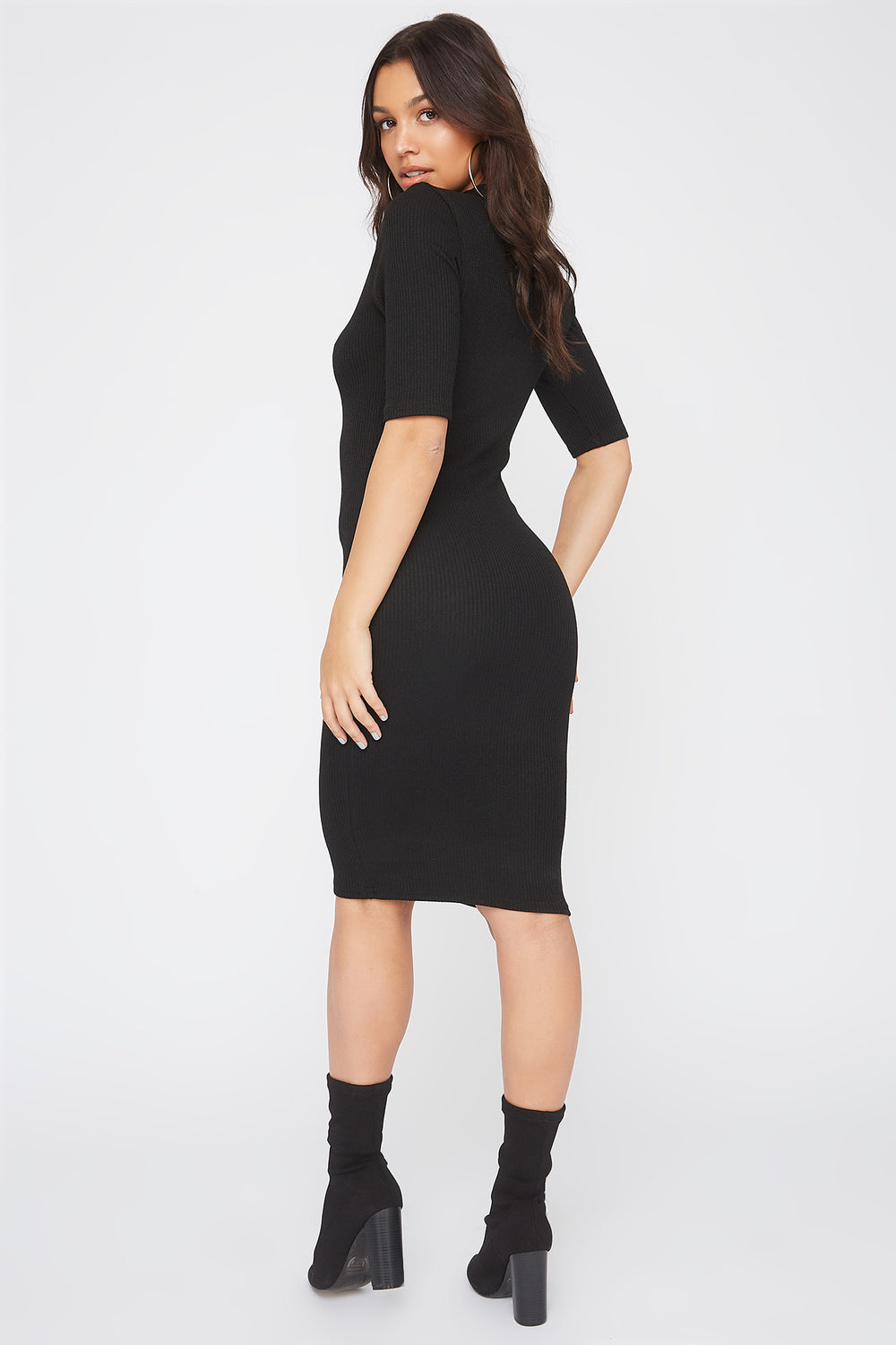 Ribbed Elbow Sleeve Midi Dress Black