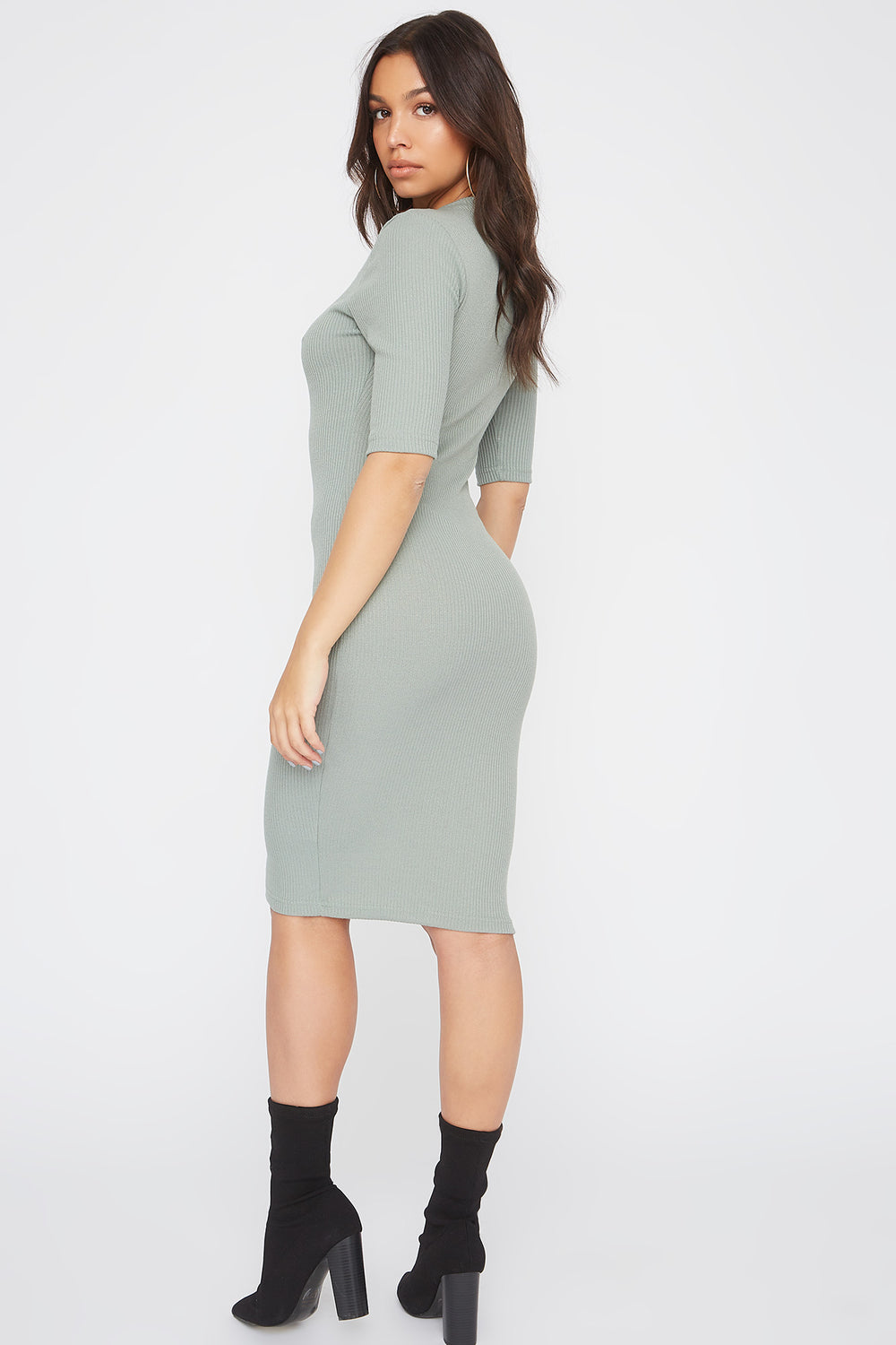 Ribbed Elbow Sleeve Midi Dress Sage