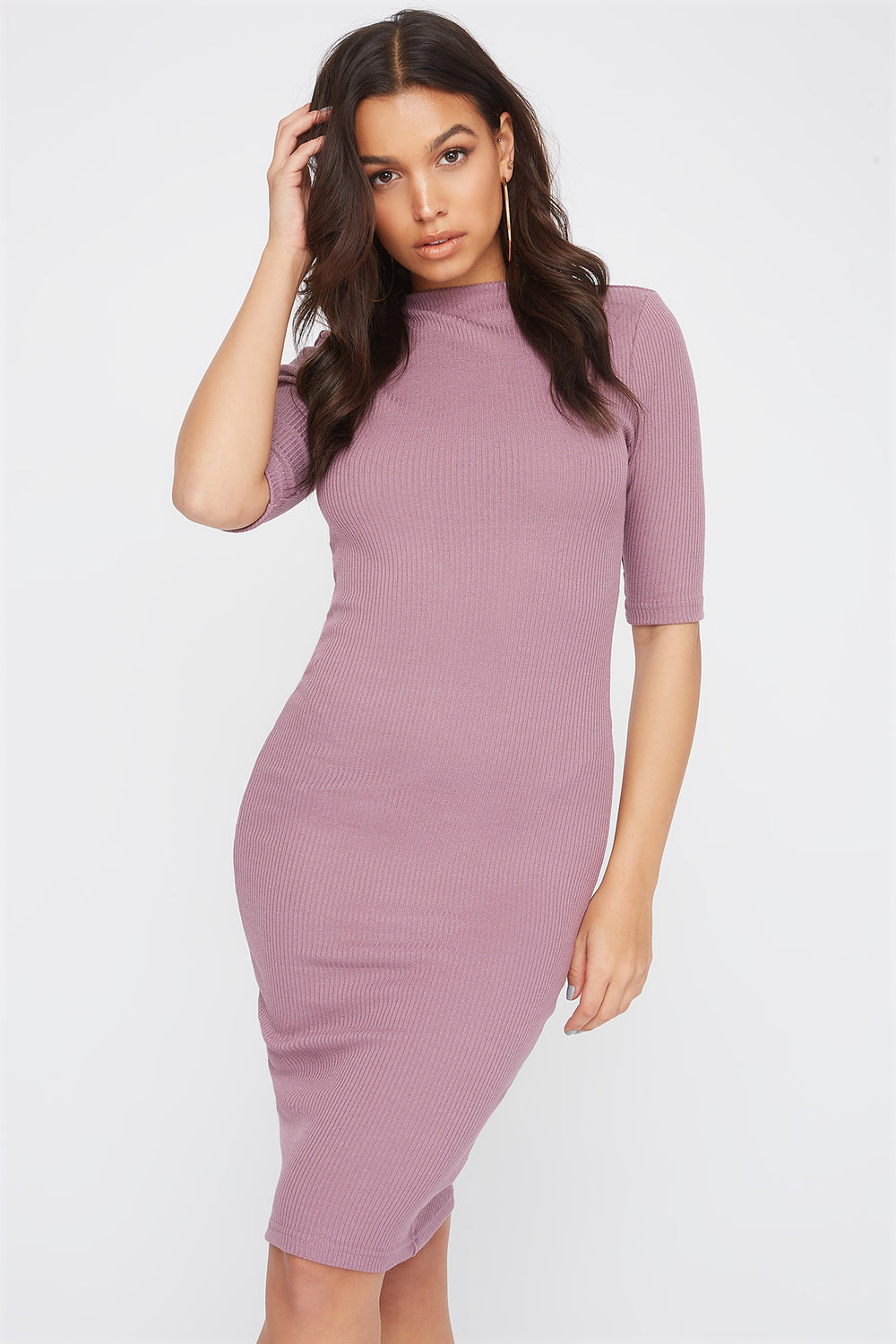 Ribbed Elbow Sleeve Midi Dress Lilac
