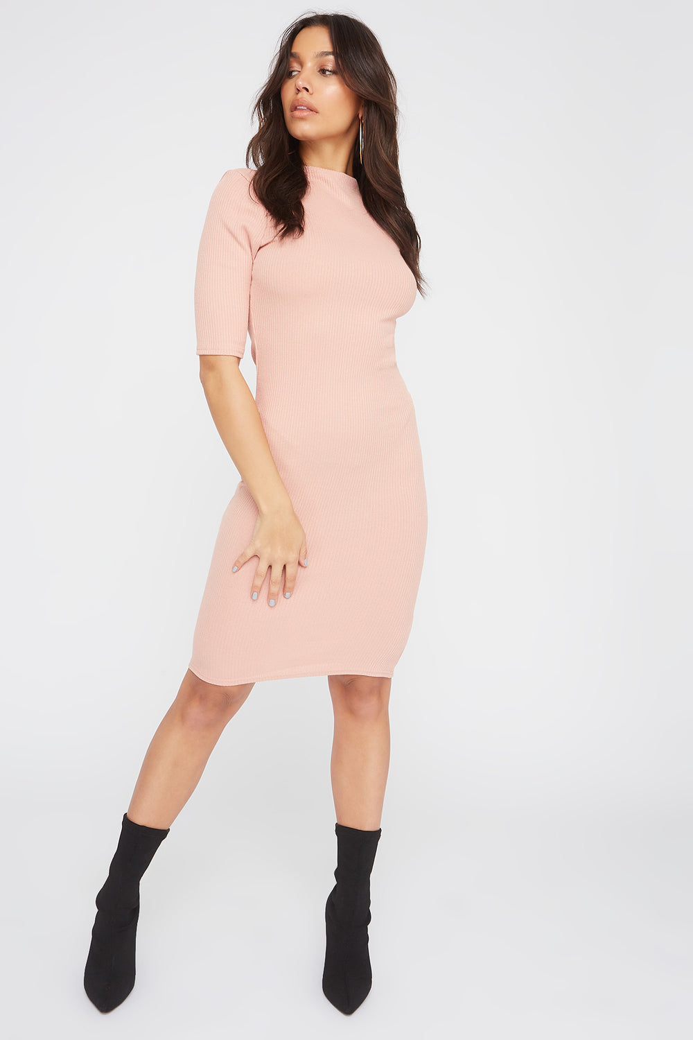 Ribbed Elbow Sleeve Midi Dress Dusty Rose