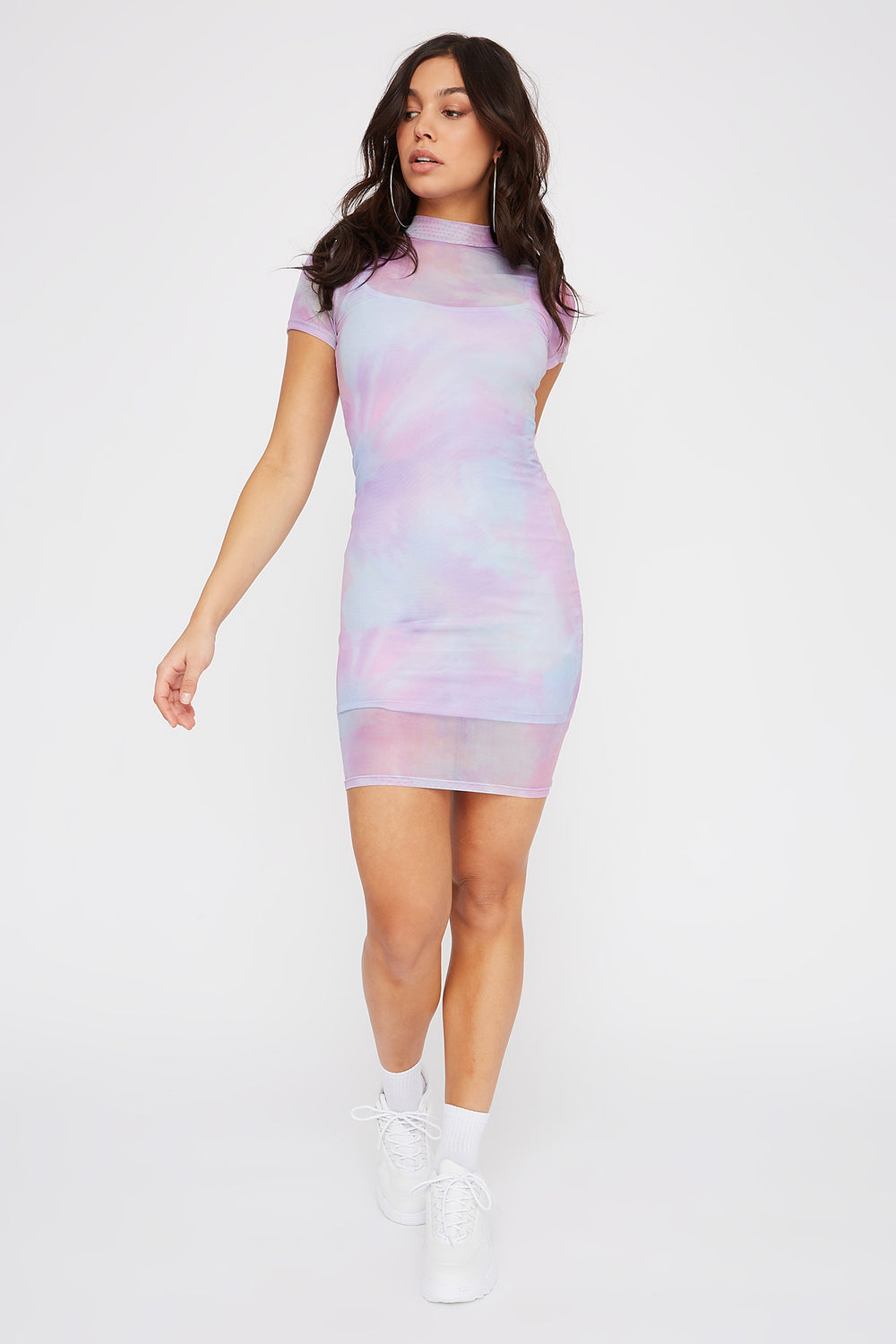 Mesh Tie Dye Mock Neck Mini Dress Multi