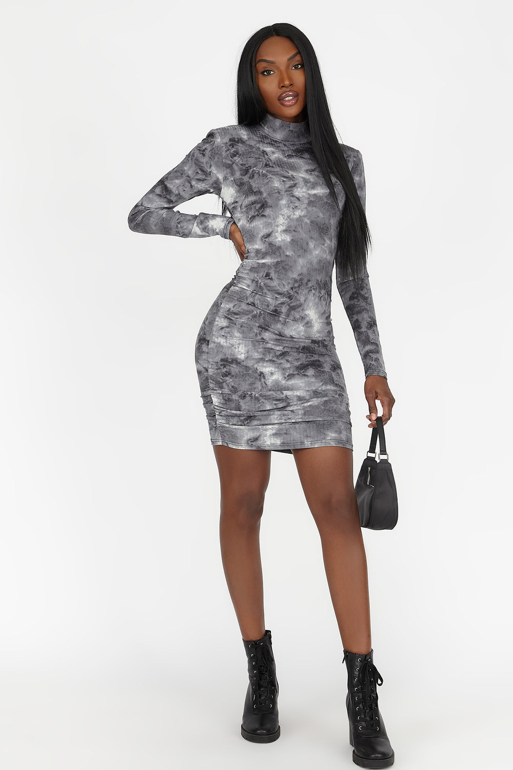 Soft Tie Dye Ruched Long Sleeve Mini Dress Black with White