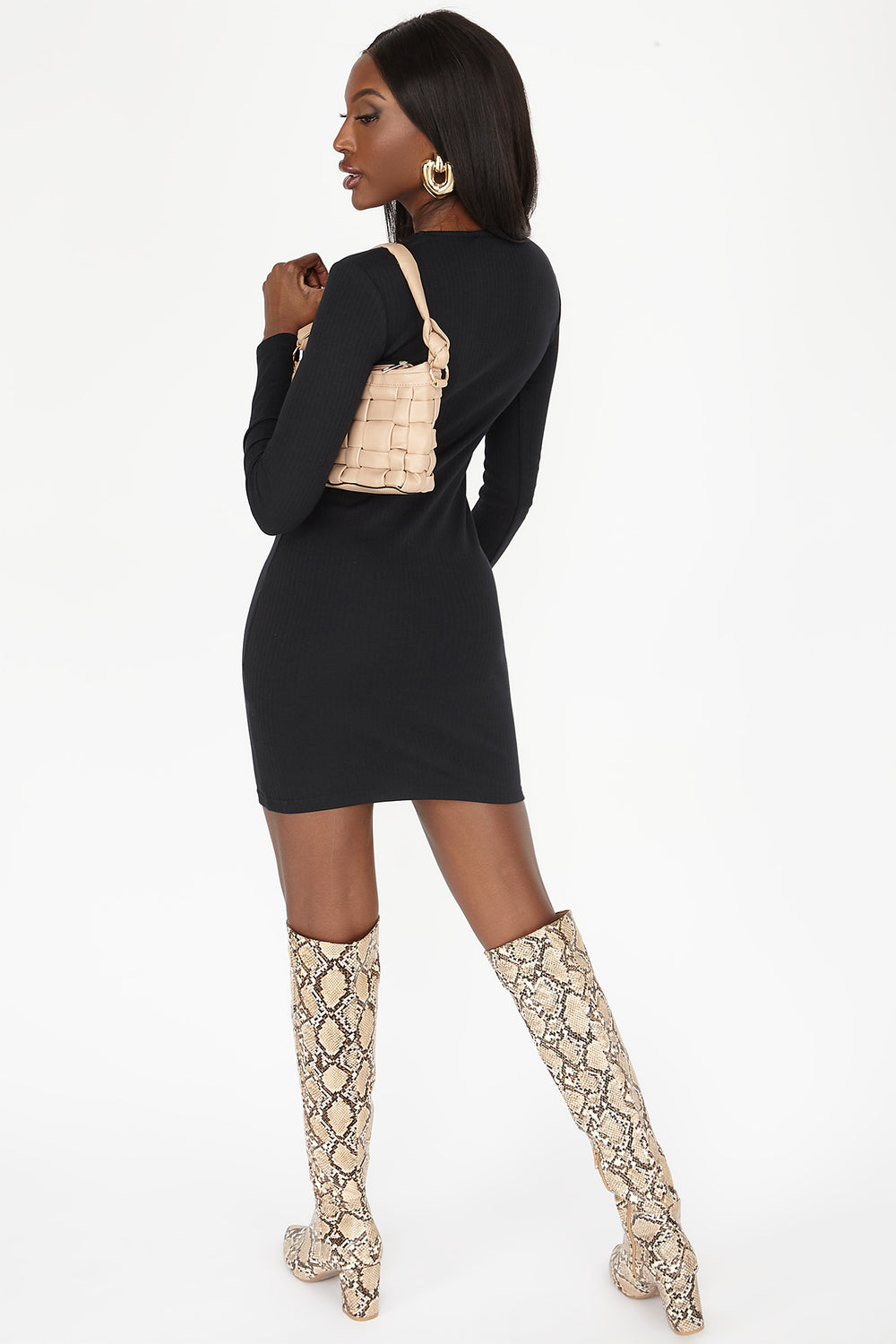 Button-Front Ribbed Long Sleeve Mini Dress Black