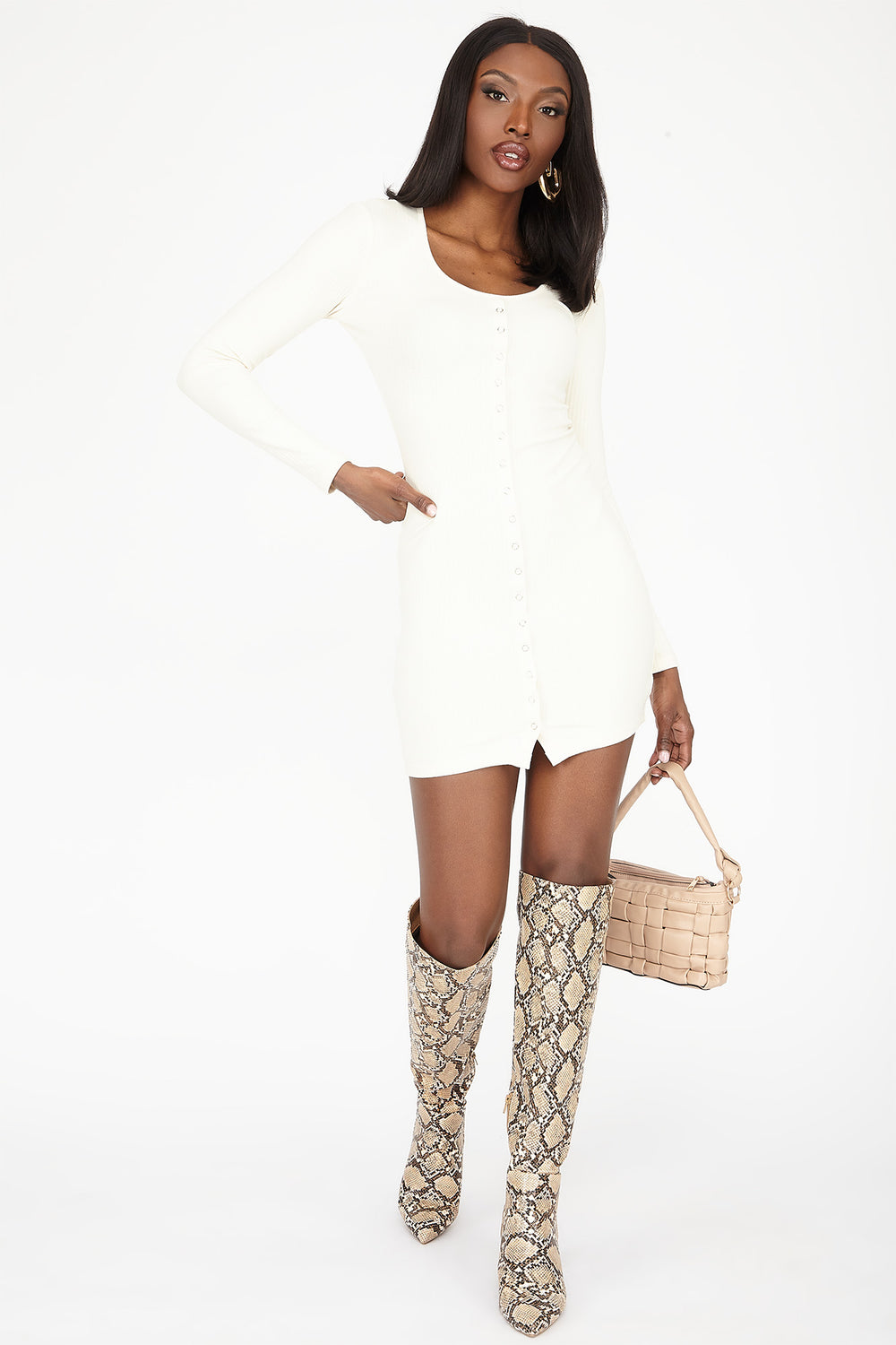 Button-Front Ribbed Long Sleeve Mini Dress Cream