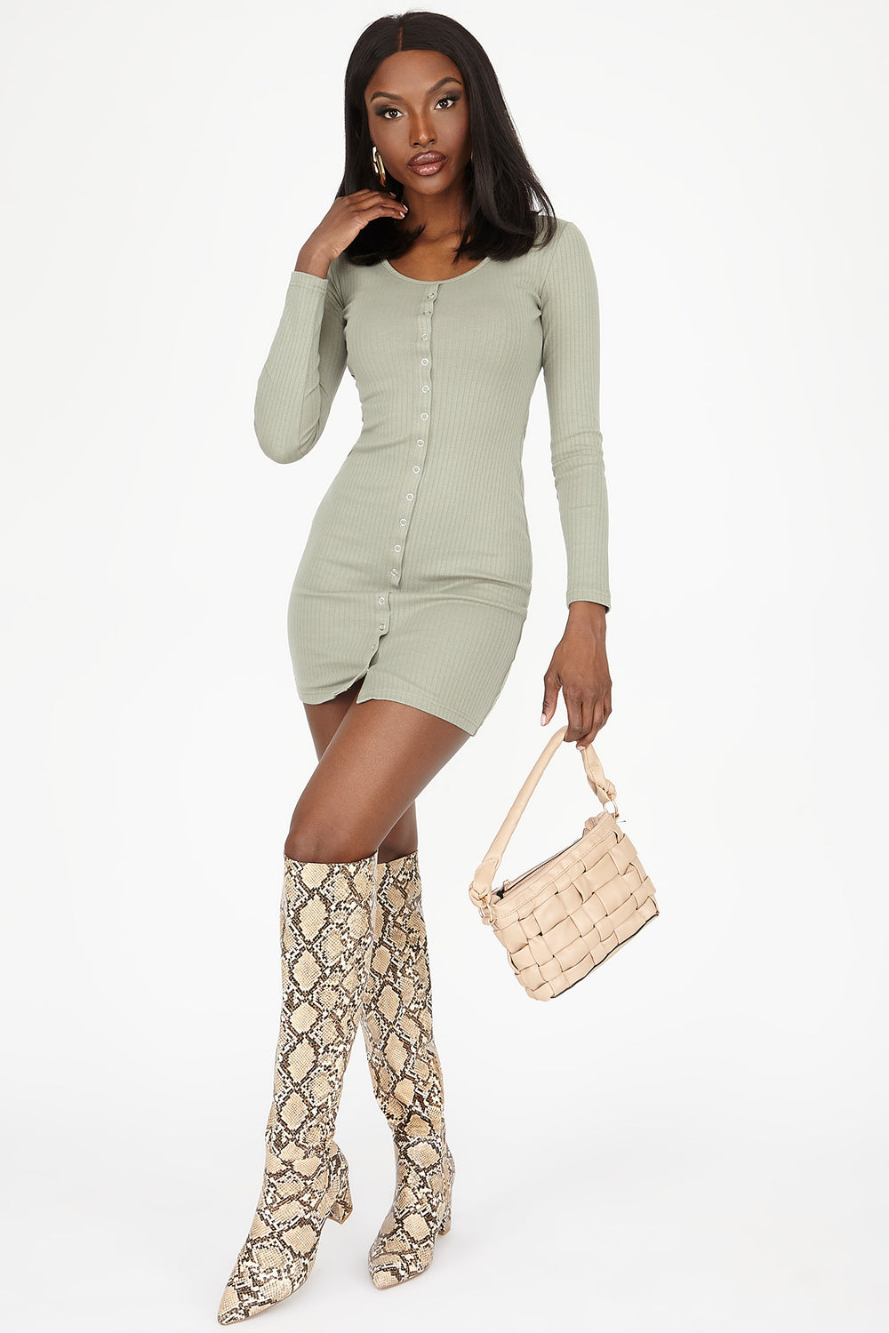 Button-Front Ribbed Long Sleeve Mini Dress Sage