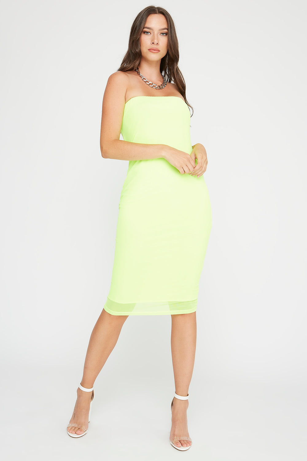 Strapless Bodycon Midi Dress Neon Green