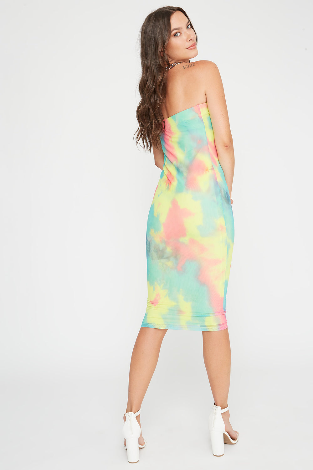 Mesh Strapless Bodycon Midi Dress Multi