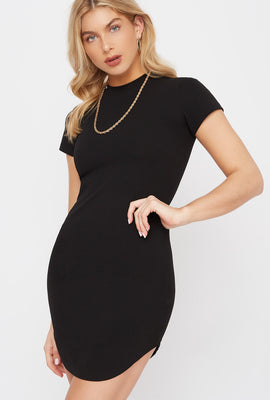 Crew Neck Bodycon Short Sleeve Mini Dress