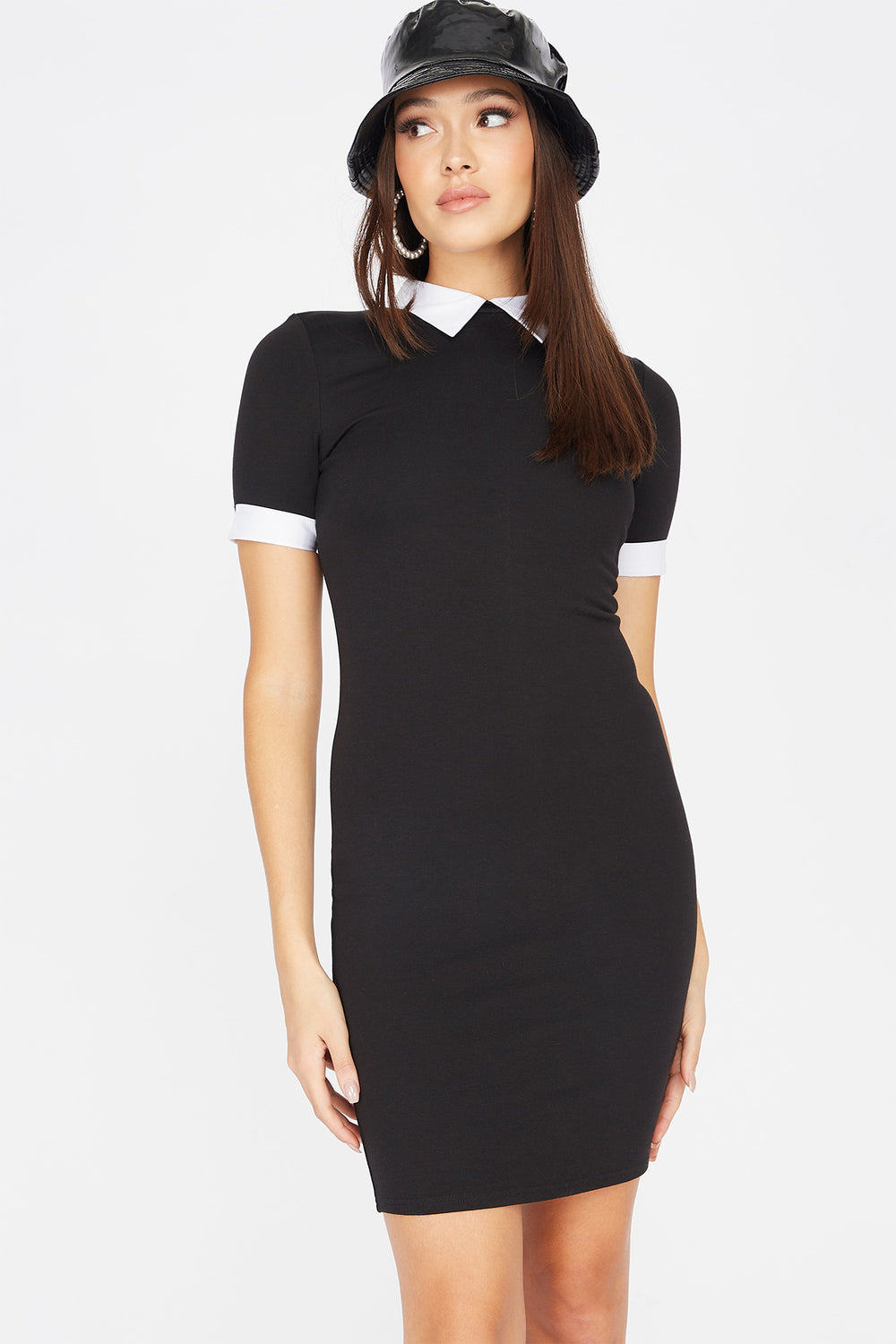 Contrast Collared Short Sleeve Mini Dress Black