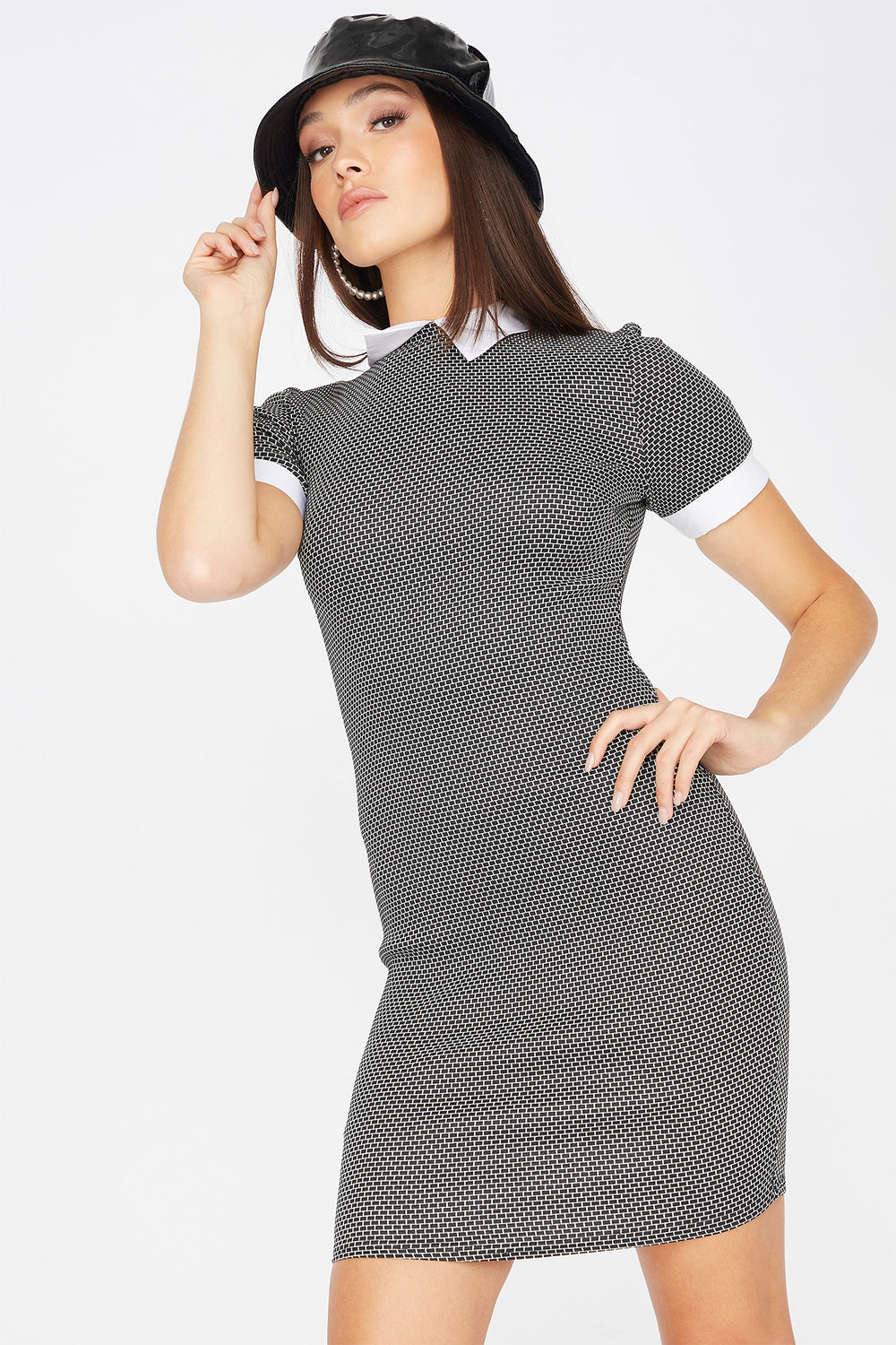 Contrast Collared Printed Short Sleeve Mini Dress Buffalo Check