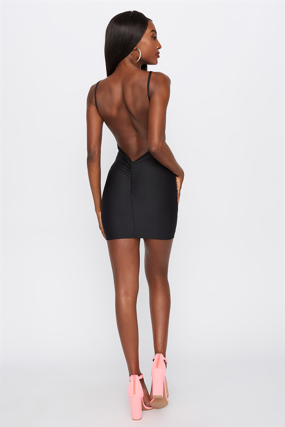 Shine Open Back Bodycon Mini Dress Black
