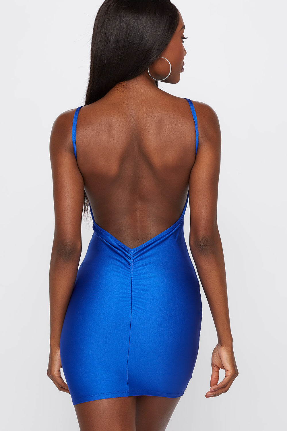 Shine Open Back Bodycon Mini Dress Royal Blue