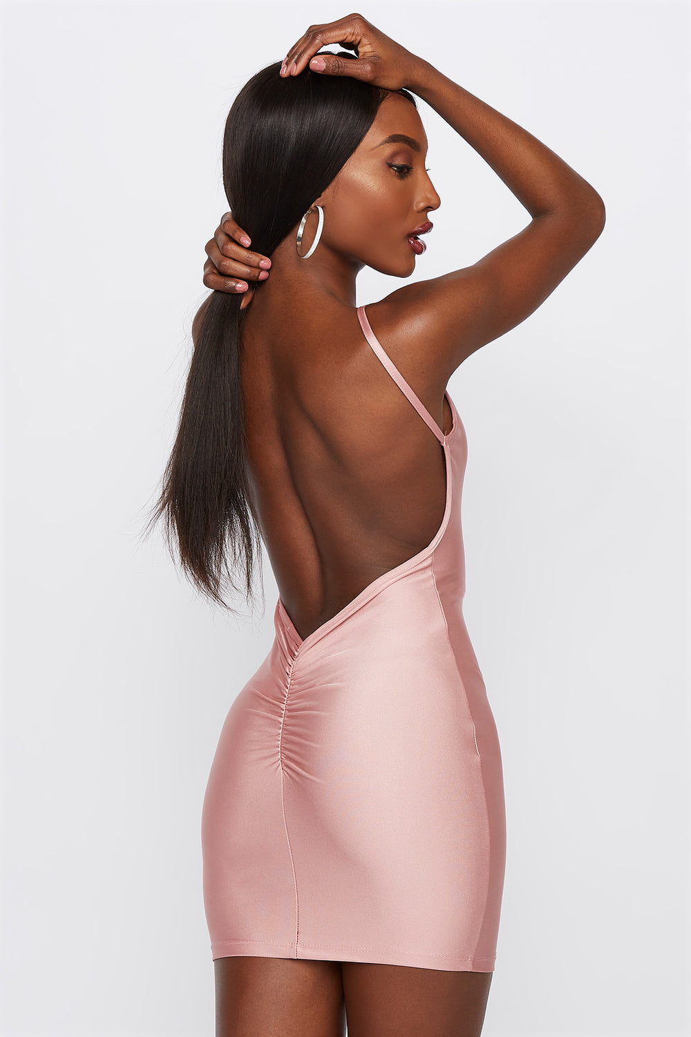 Shine Open Back Bodycon Mini Dress Mauve