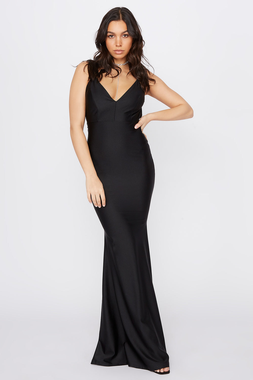 Crystal V-Neck Open Back Maxi Dress Black
