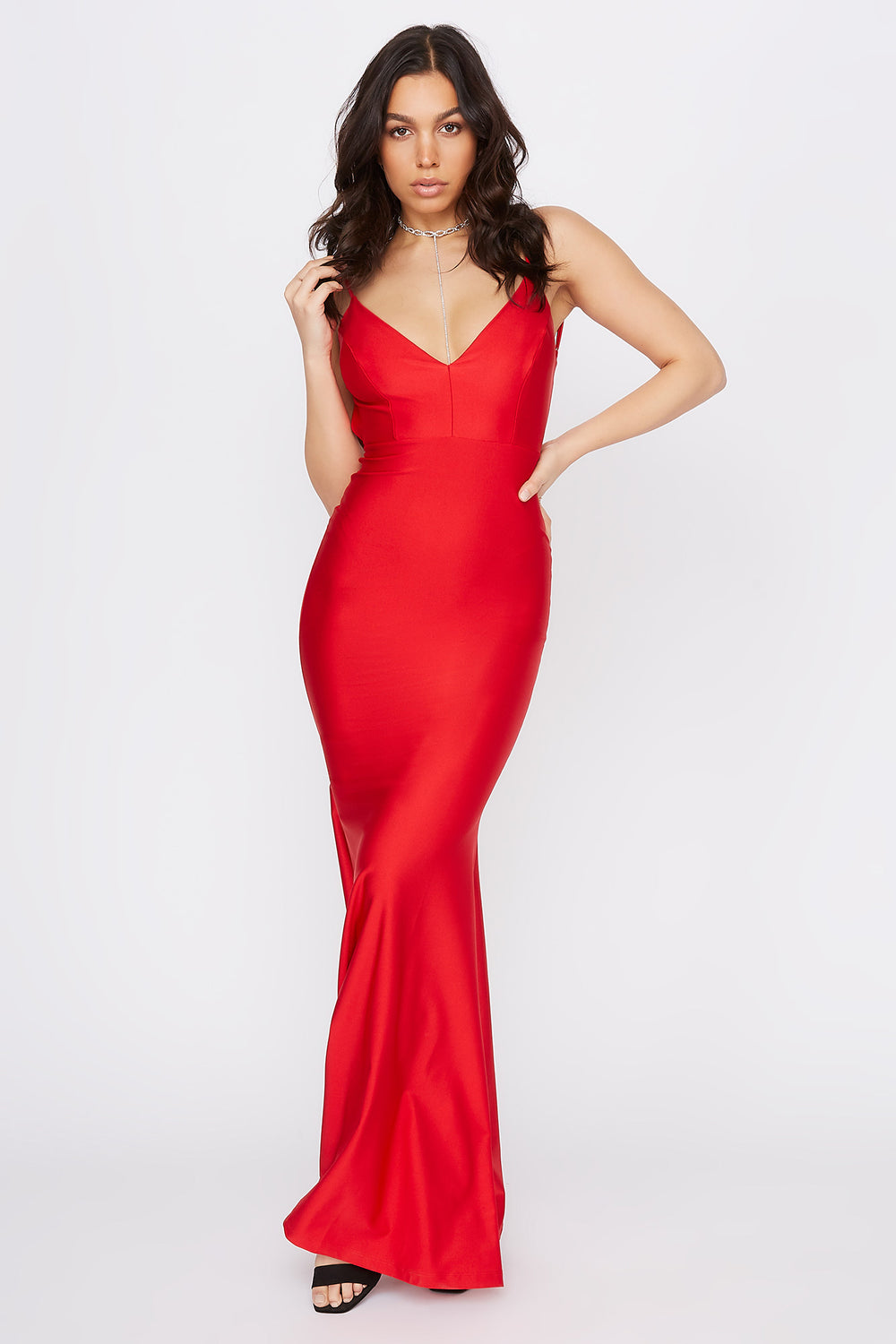 Crystal V-Neck Open Back Maxi Dress Red