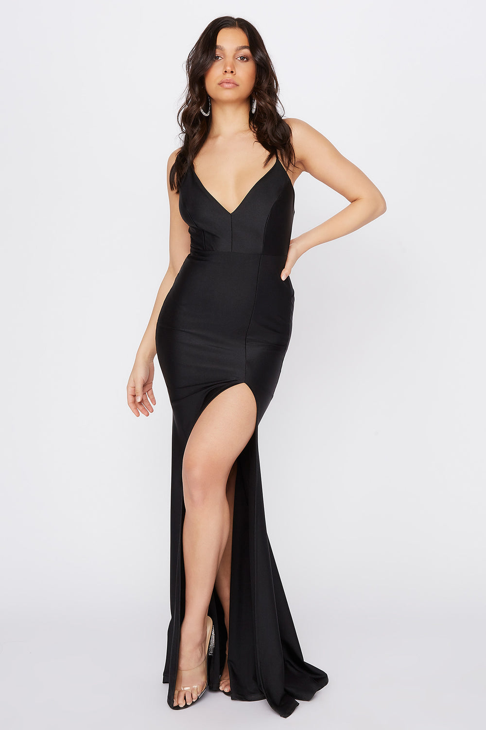 Crystal V-Neck Slit Maxi Dress Black