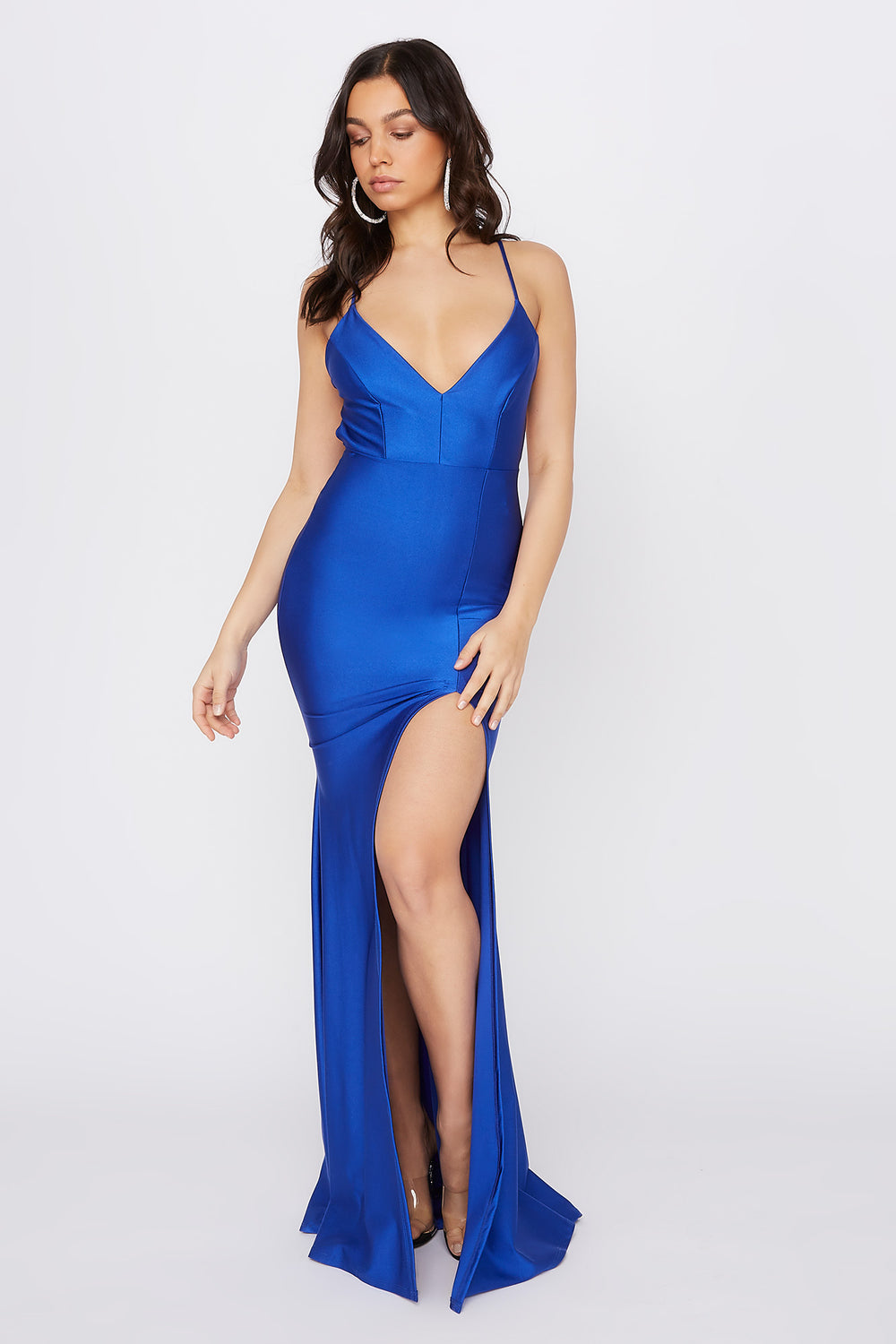 Crystal V-Neck Slit Maxi Dress Royal Blue