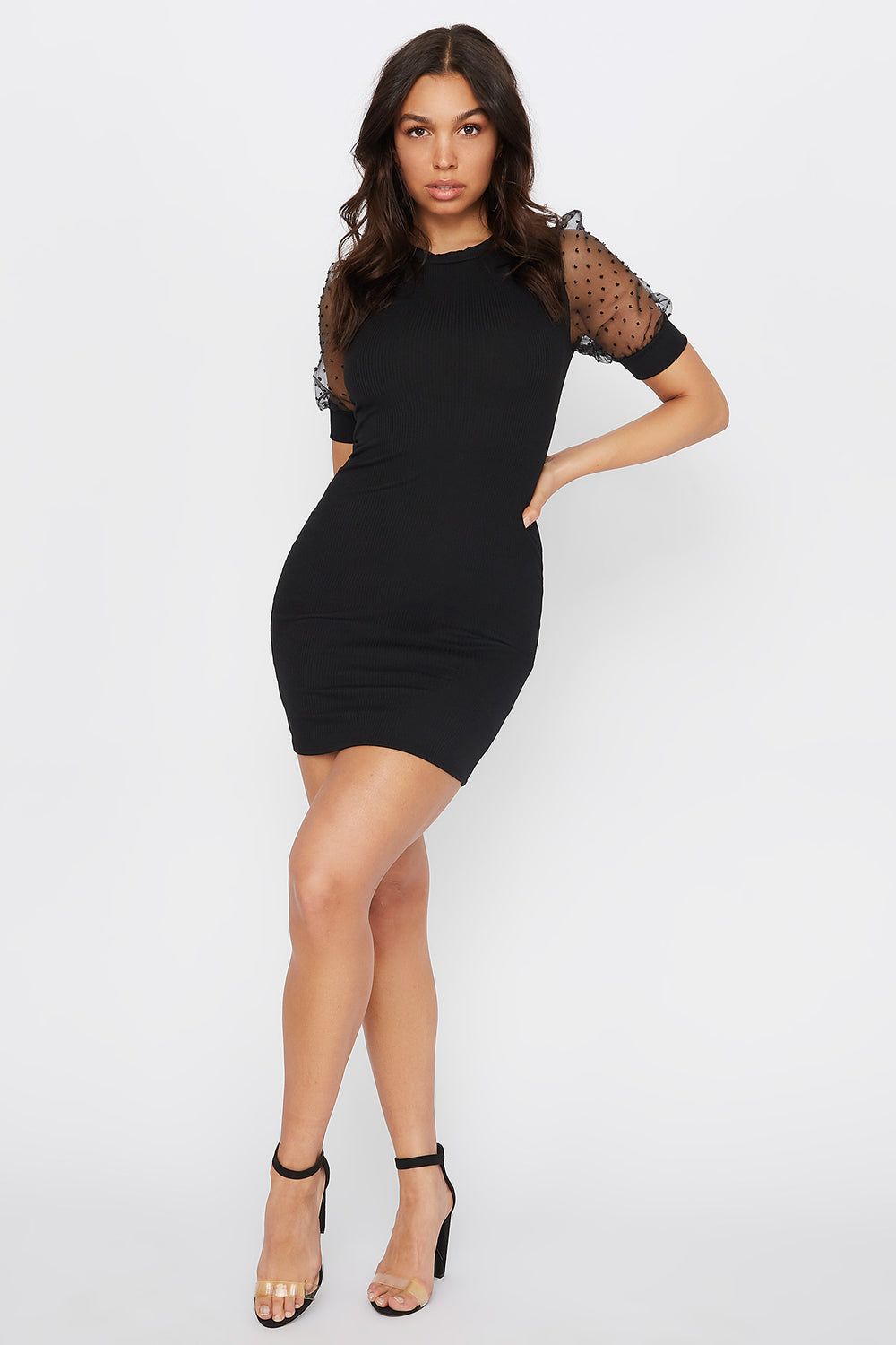 Polka Dot Puff Sleeve Ribbed Mini Dress Black