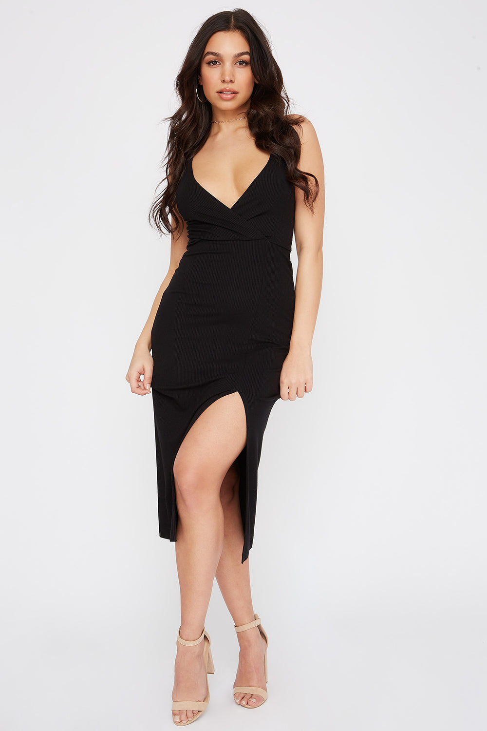 Ribbed Solid V-Neck Slit Midi Dress Black