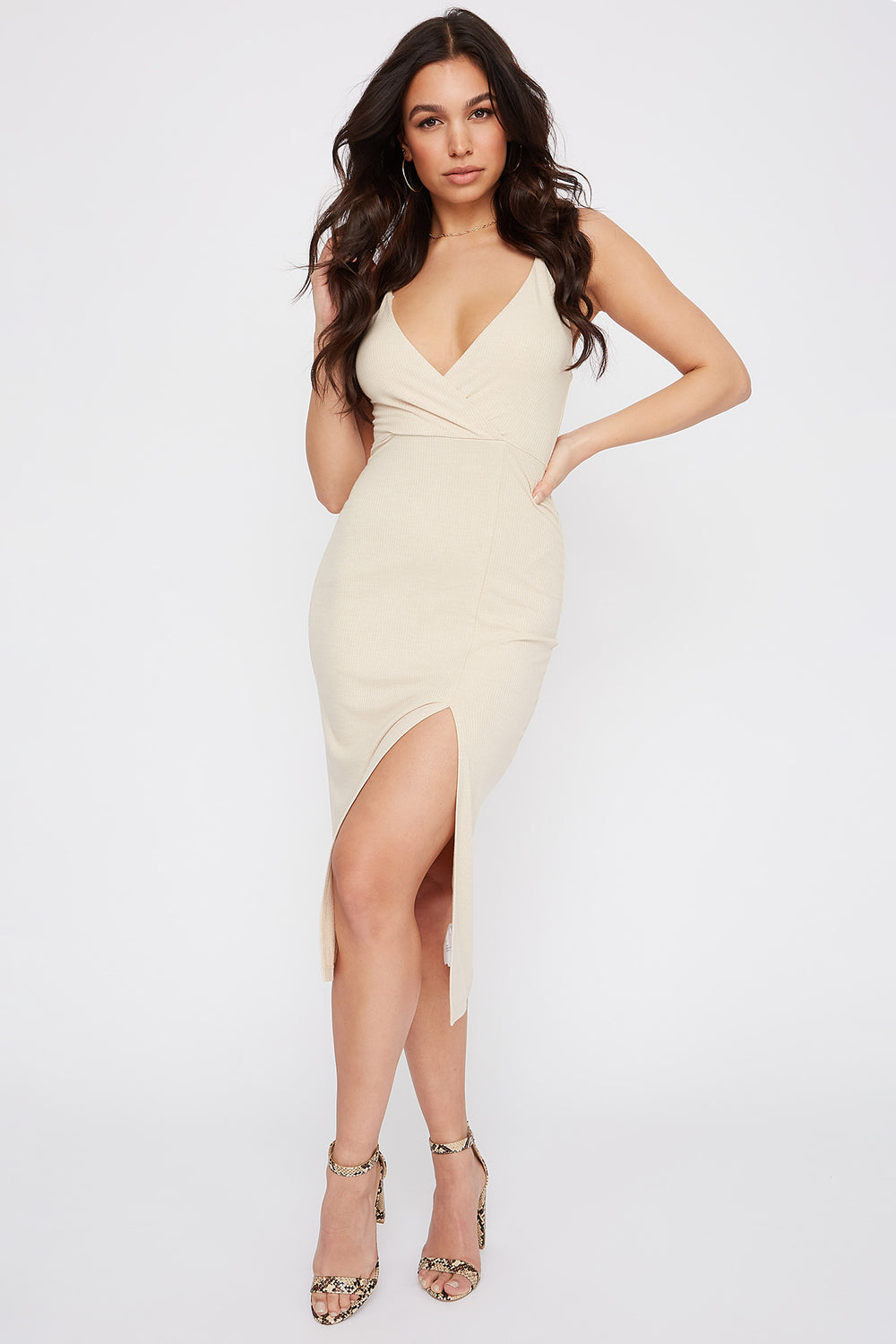 Ribbed Solid V-Neck Slit Midi Dress Oatmeal