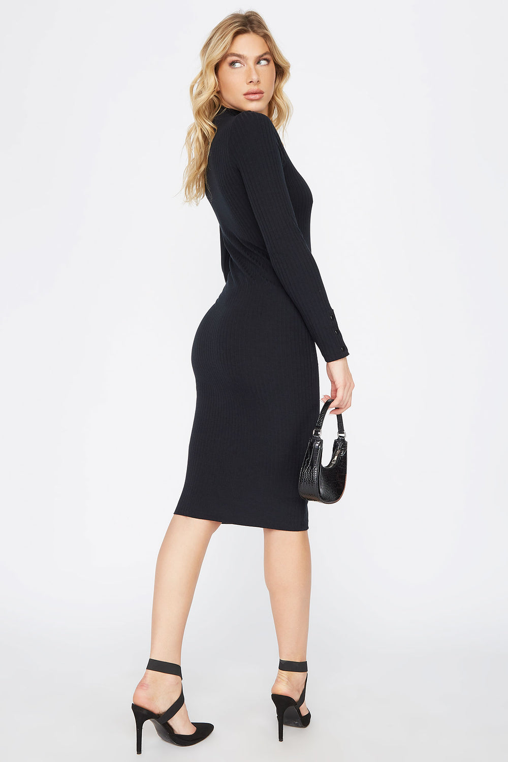 Ribbed Long Sleeve Midi Dress Black