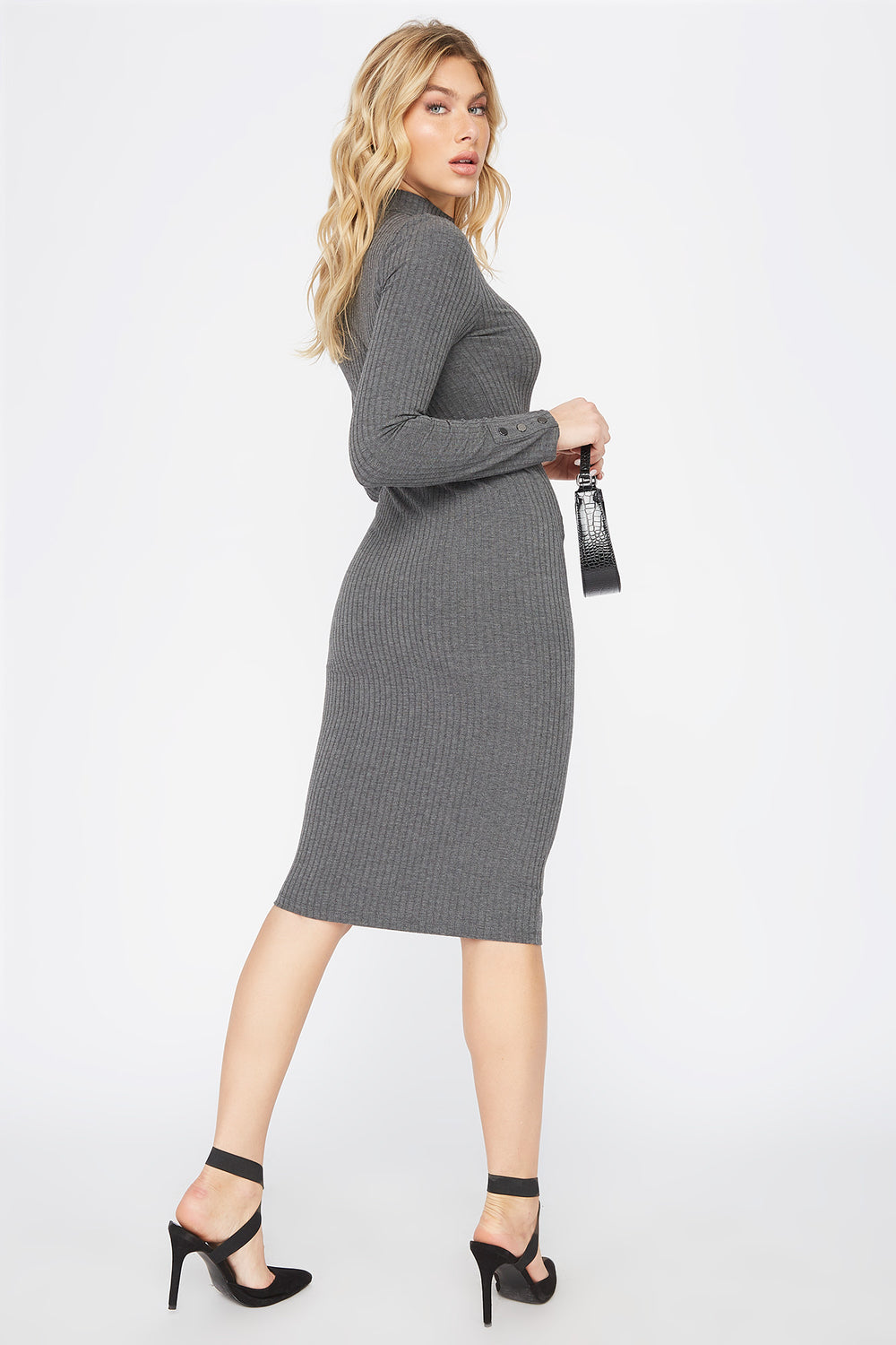 Ribbed Long Sleeve Midi Dress Charcoal