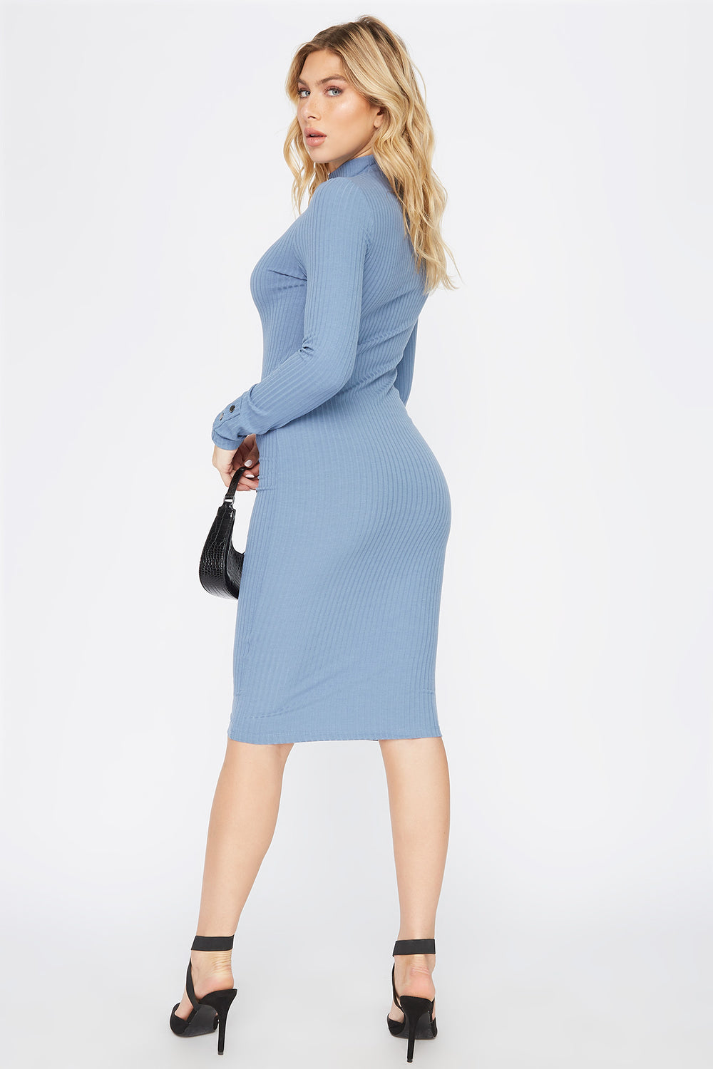 Ribbed Long Sleeve Midi Dress Grey Blue