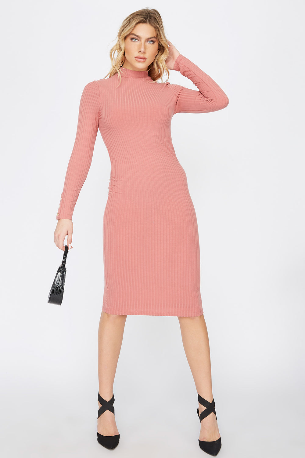 Ribbed Long Sleeve Midi Dress Dark Pink