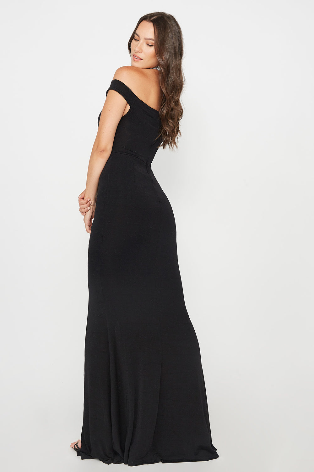 Glitter Slit Maxi Dress Black