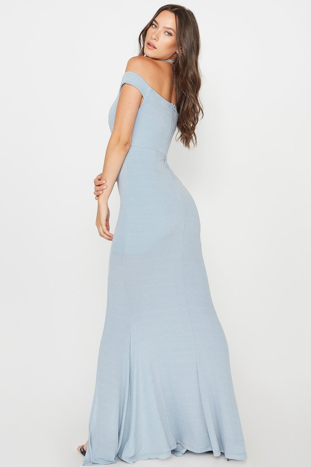 Glitter Slit Maxi Dress Light Blue