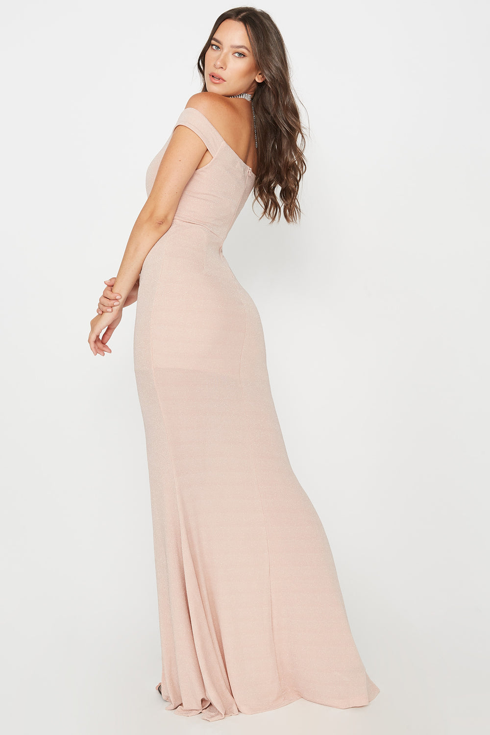 Glitter Slit Maxi Dress Dusty Rose