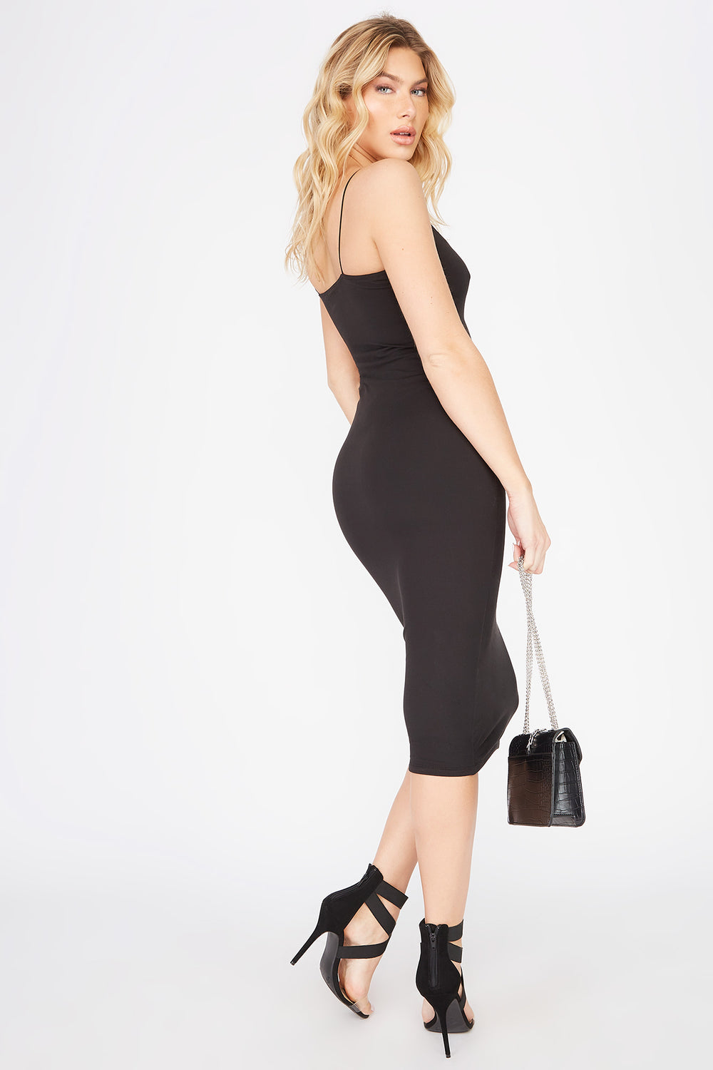 Sleeveless Bodycon Midi Dress Black
