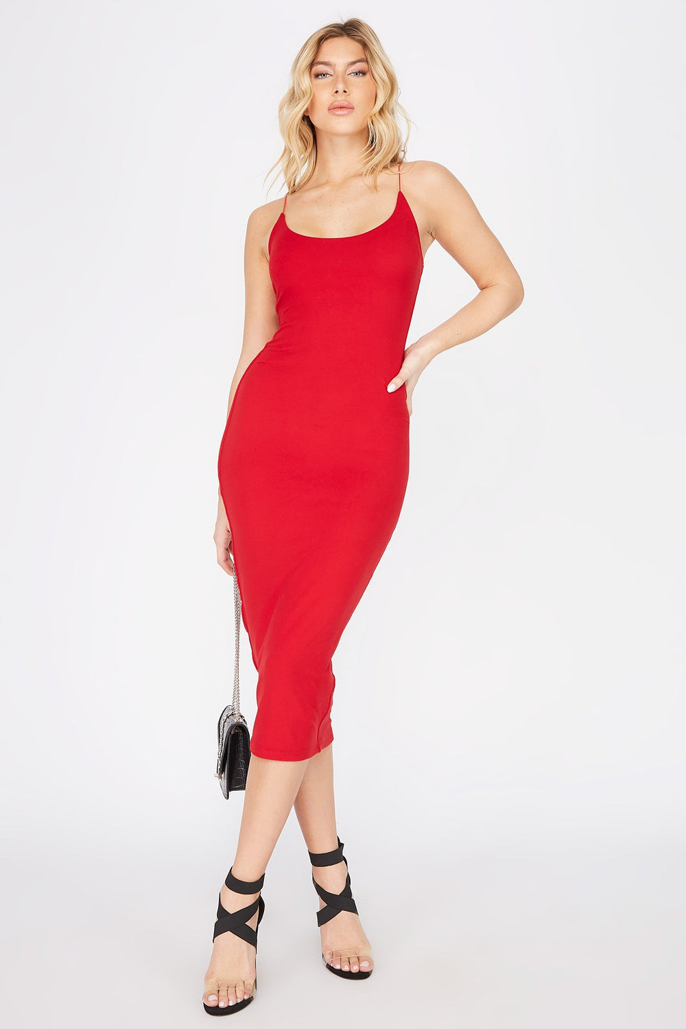 Sleeveless Bodycon Midi Dress Red