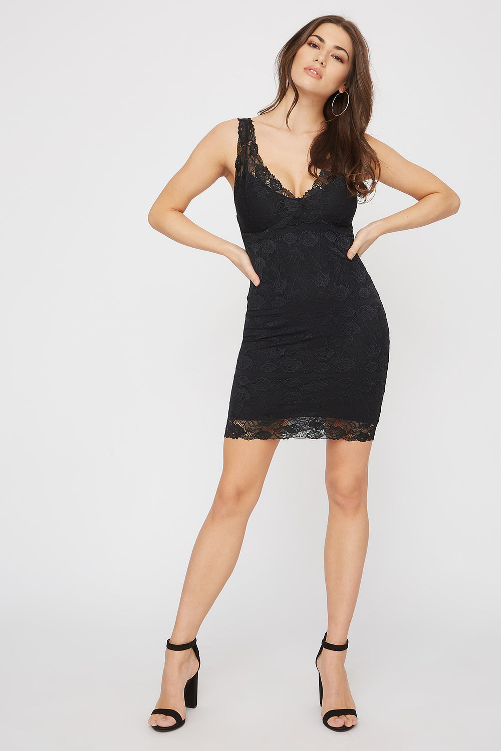 Lace Sleeveless V-Neck Mini Dress Black