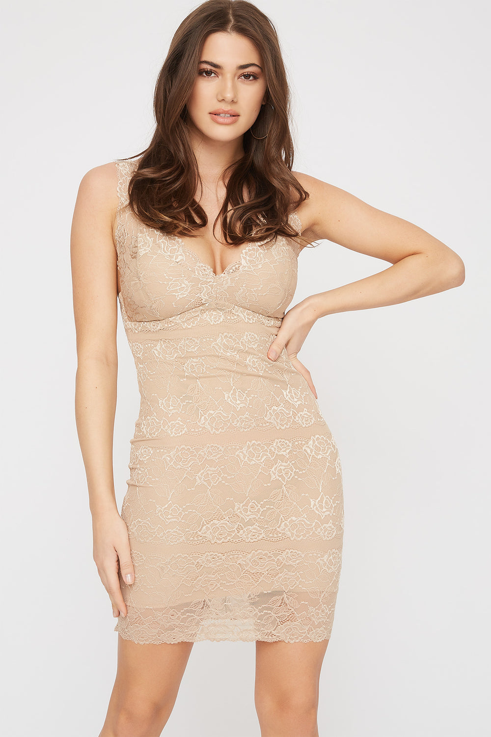 Lace Sleeveless V-Neck Mini Dress Beige