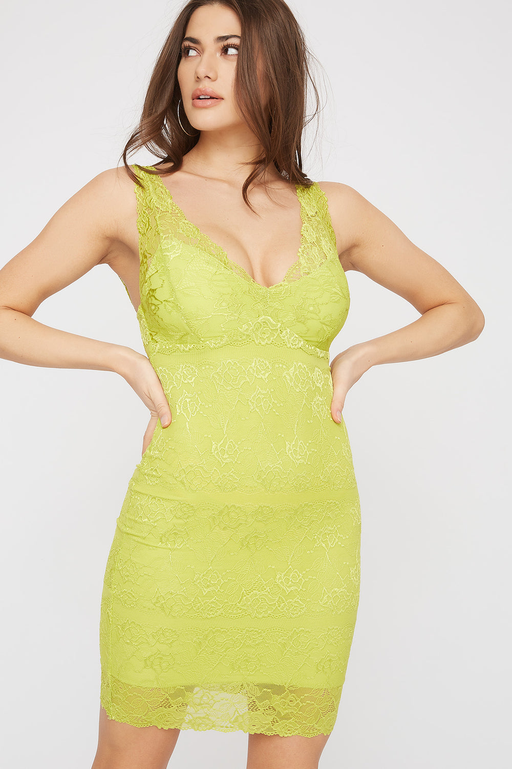 Lace Sleeveless V-Neck Mini Dress Neon Green