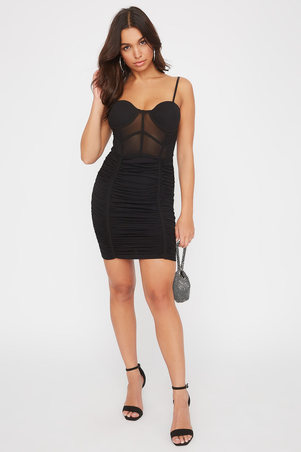 Mesh Bustier Ruched Mini Dress Black