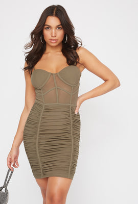 Mesh Bustier Ruched Mini Dress