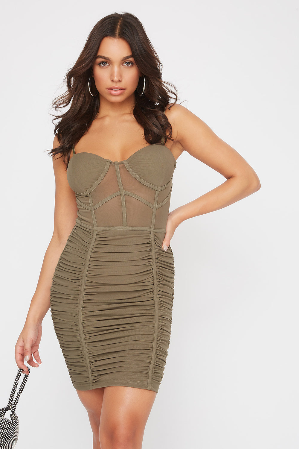 Mesh Bustier Ruched Mini Dress Dark Green