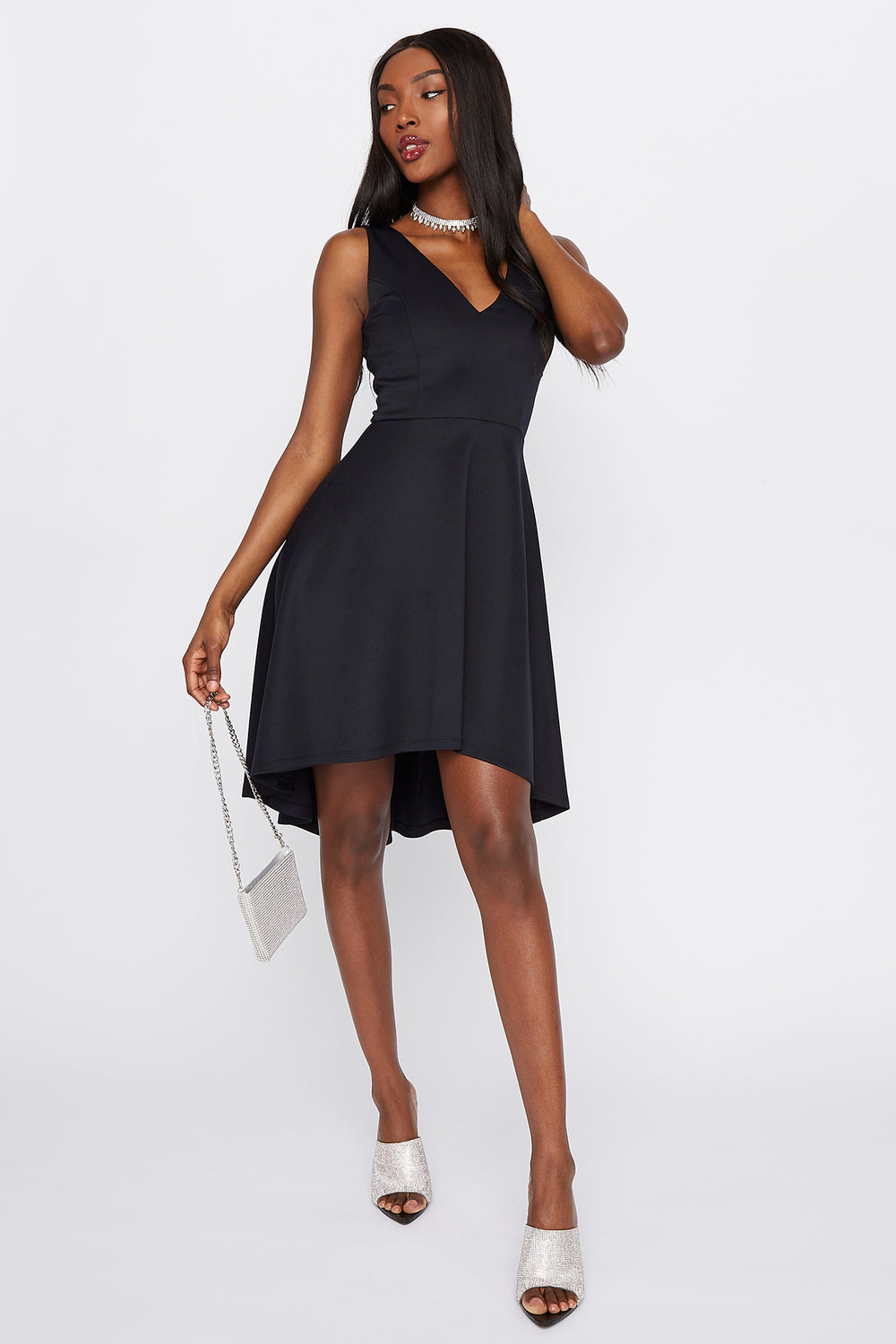 Scuba Back Cut-Out High-Low Dress Black