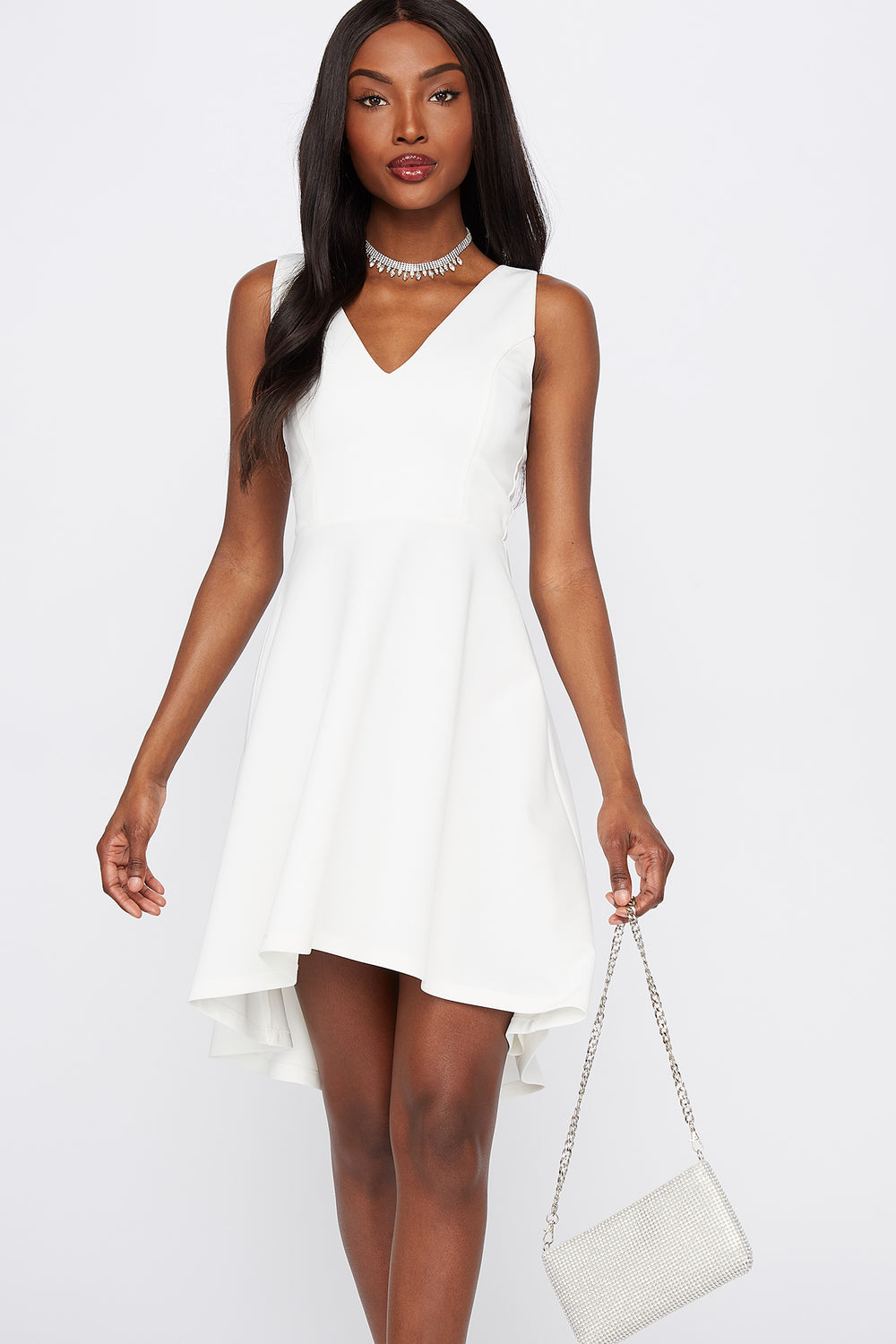 Scuba Back Cut-Out High-Low Dress White