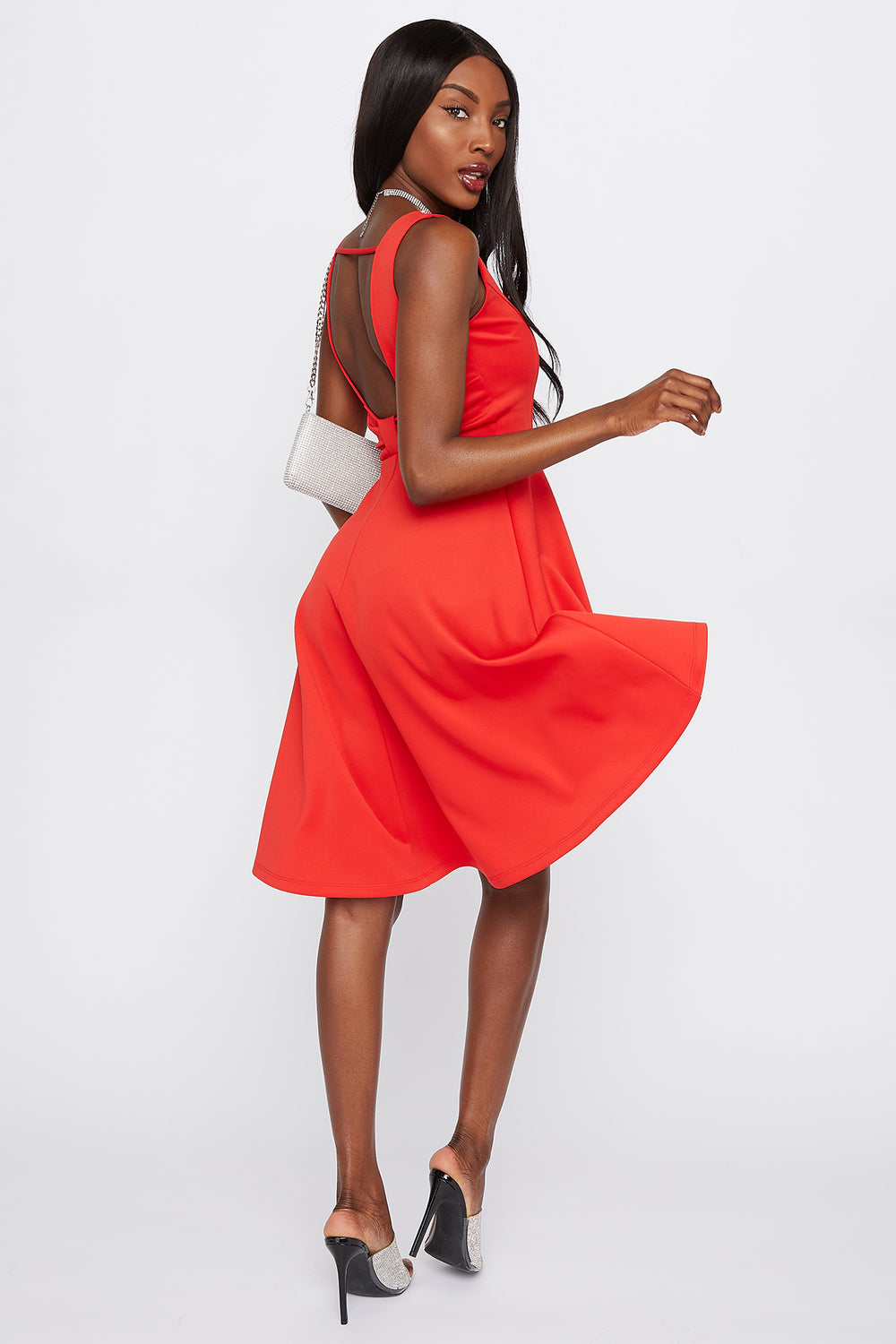 Scuba Back Cut-Out High-Low Dress Red