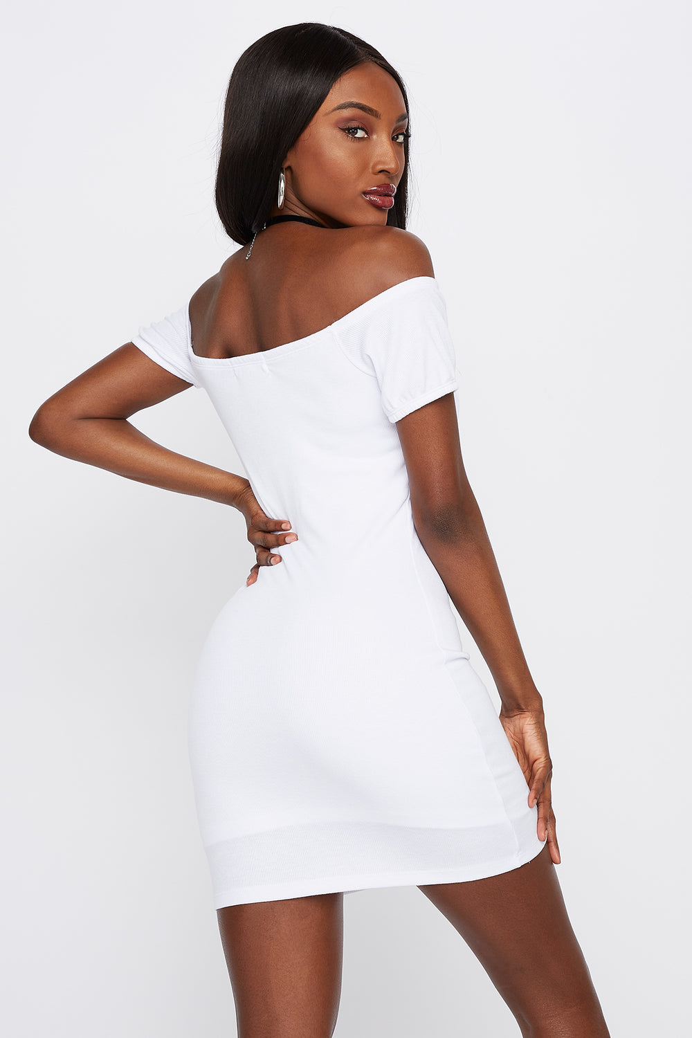 Off The Shoulder Hook And Eye Mini Dress White