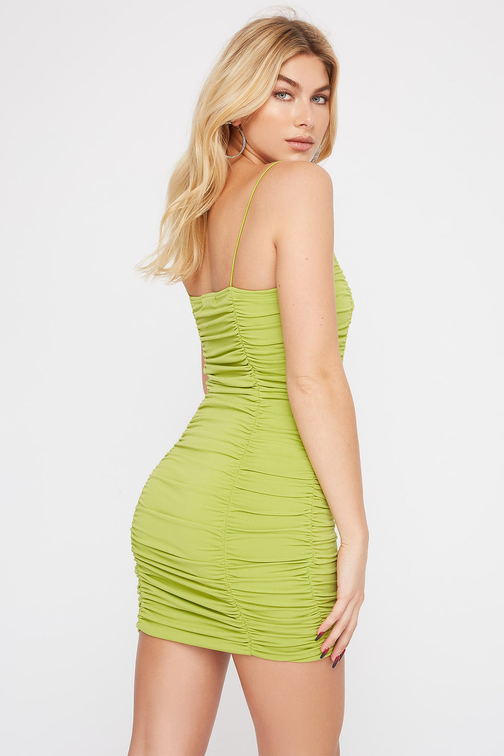 Ruched Mini Dress Neon Green