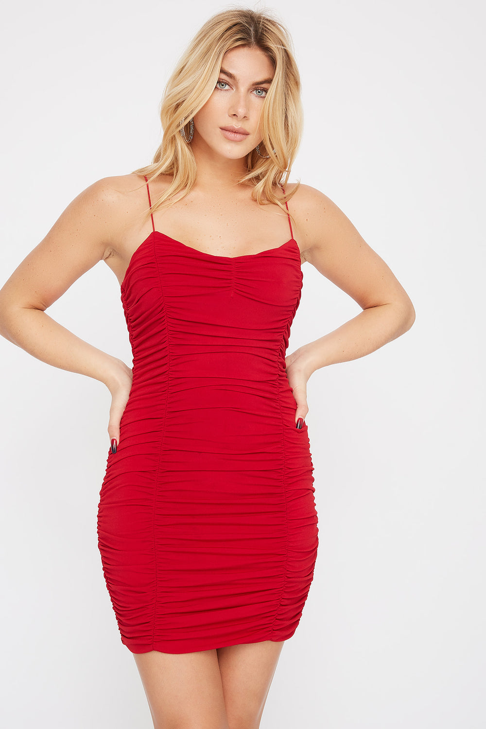 Ruched Mini Dress Red