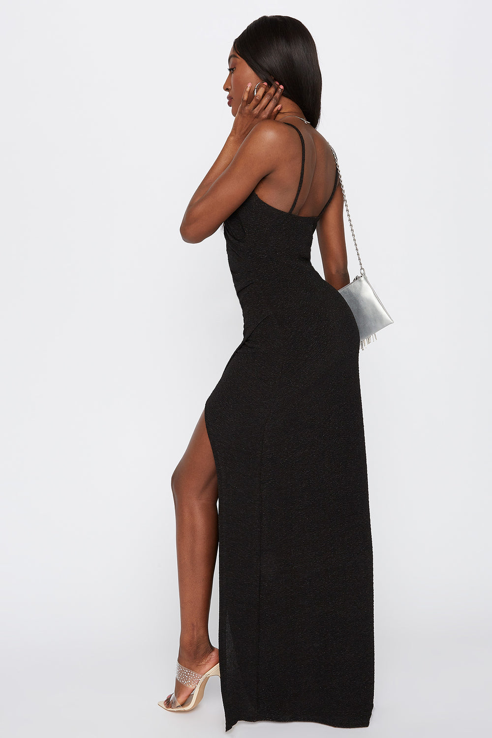 V-Neck Slit Maxi Dress Black