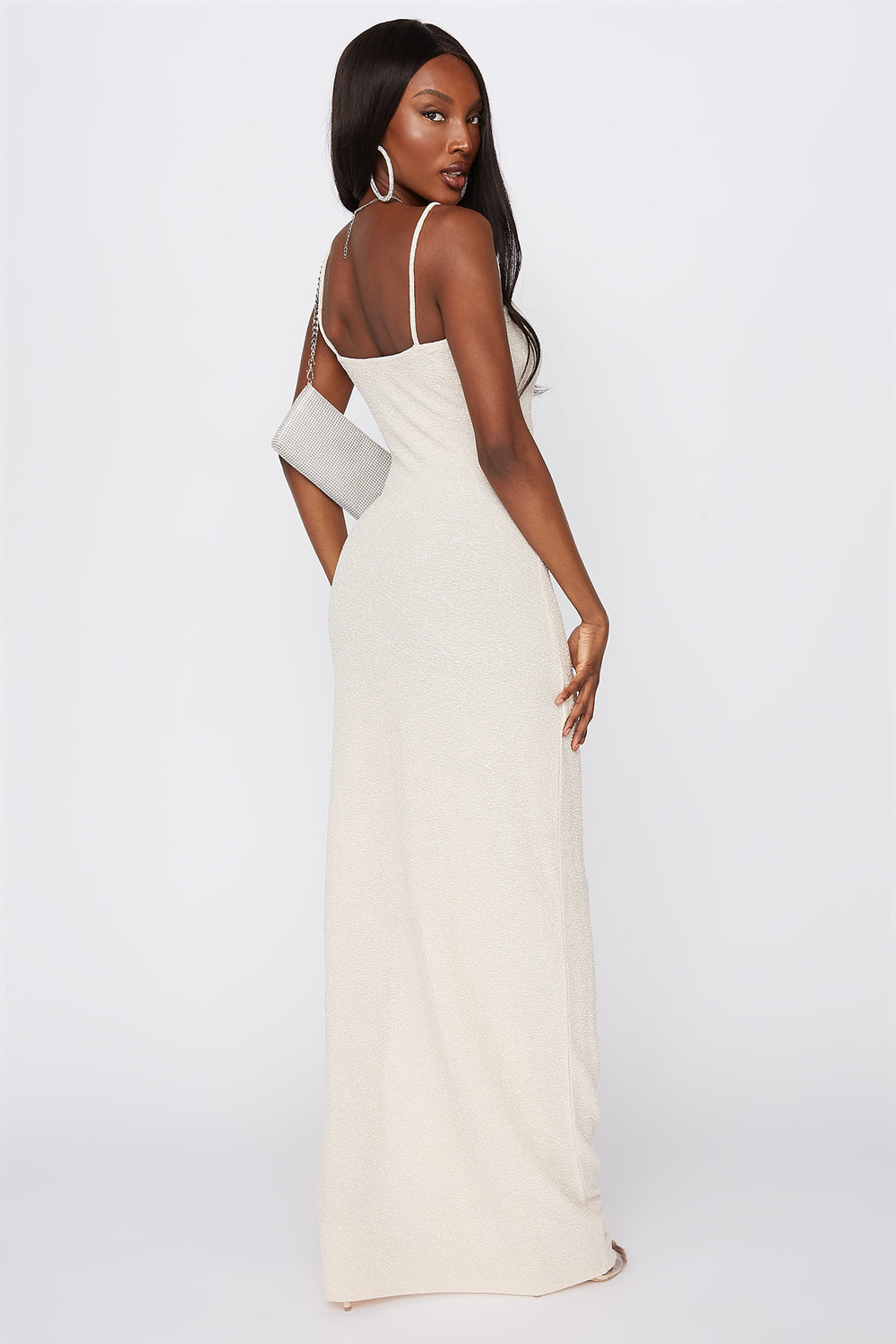 V-Neck Slit Maxi Dress Natural