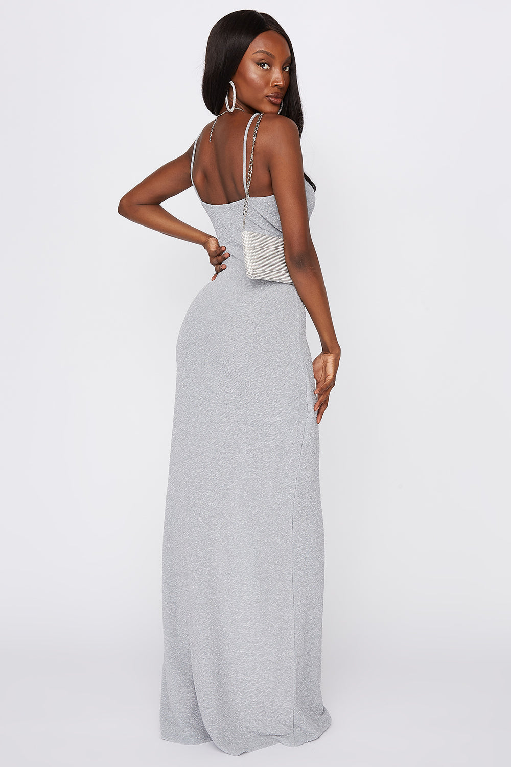 V-Neck Slit Maxi Dress Light Blue