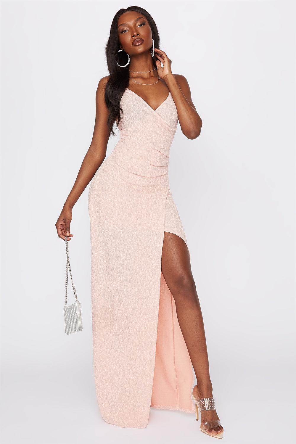 V-Neck Slit Maxi Dress Dusty Rose
